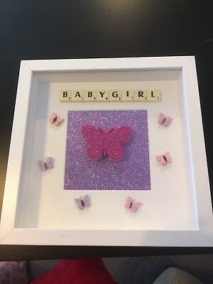 Baby girl Butterfly Scrabble Frame