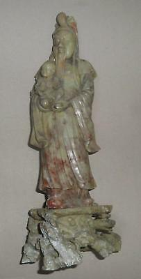 A  FINE LARGE ANTIQUE 18th. C  CHINESE SOAPSTONE CARVING OF IMMORTAL AND CHILD