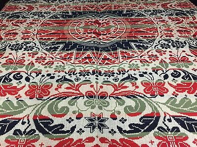 """1840s antique Pennsylvania COVERLET 100"""" x 76""""- Hand woven Red White Blue Green"""