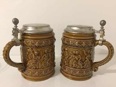 Vintage Austria Handmade Ceramic German Beer Stein Mug Set