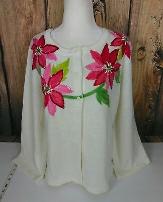 Tiara International Christmas Collection sweater womens size XL red poinsettia