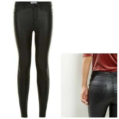 Ladies New Look COATED Super Skinny Jeans Black Sizes 4-18 Leg 24-32