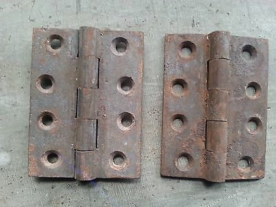 "Matching Pair of Antique Cast Iron Hinges 4"" x 3"", circa 1860-90"
