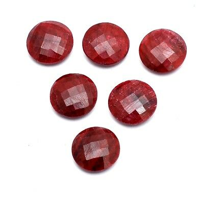 10 Pcs Lot of Faceted Dyed Ruby Round Shape 16mm Approx Loose Gemstones