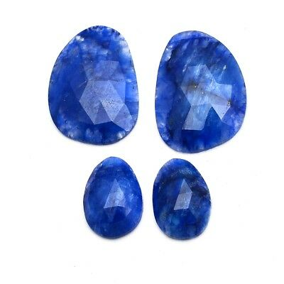 4 Pcs Lot of Faceted Dyed Blue Sapphire Natural Shape 16x20mm-14x10mm Gemstones