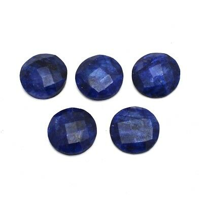 5 Pcs Lot of Faceted Dyed Blue Sapphire Round Shape Approx 16mm Loose Gemstones