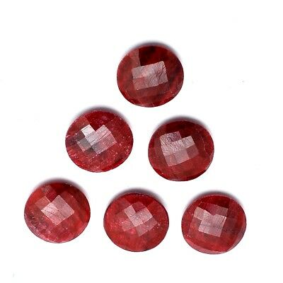 10 Pcs Lot of Faceted Dyed Ruby Round Shape Approx 12mm Loose Gemstones