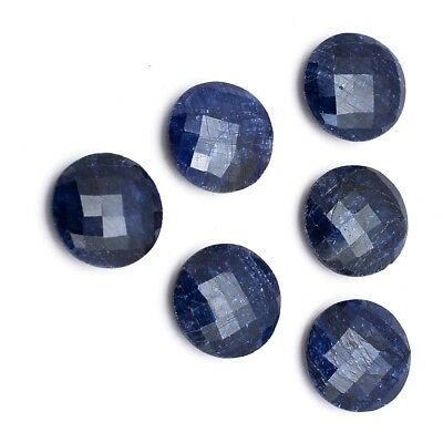 7 Pcs Lot of Faceted Dyed Blue Sapphire Round Shape Approx 12mm Loose Gemstones