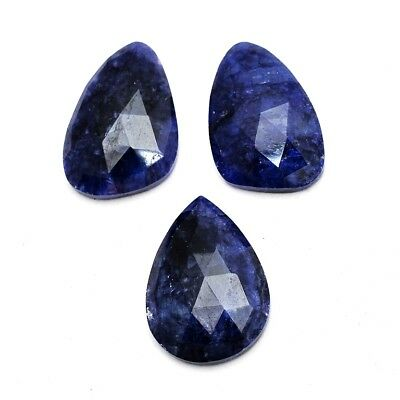 3 Pcs Lot of Faceted Dyed Blue Sapphire Natural Shape Approx 16x22mm Gemstones