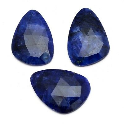 3 Pcs Lot of Faceted Dyed Blue Sapphire Natural Shape Approx 35x25mm Gemstones