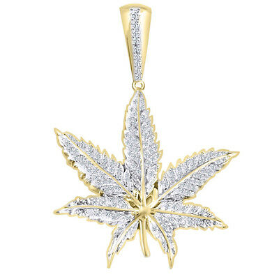 Cubic Zirconia Marijuana Leaf Pendant 14K Yellow Gold Over Sterling Silver