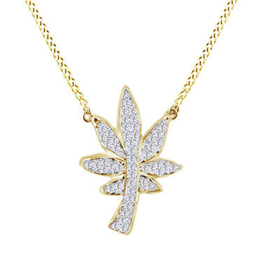 Cubic Zirconia Marijuana Leaf Pendant 14K Rose Gold Over Sterling Silver