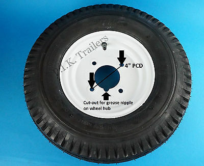 "Trailer Wheel & Tyre 400 x 8 4-Ply on 4"" PCD Wheel - WHITE"