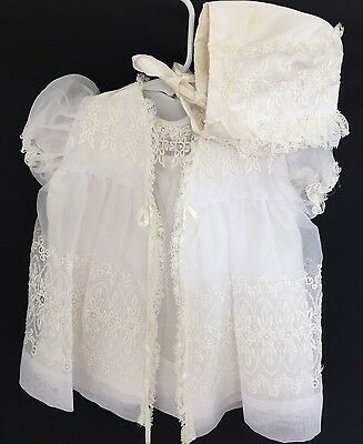 Antique Christening Dress Hat Lace 4 PC 0-6 Mos White