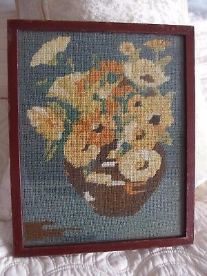 vintage Hand Stitched worked tapestry picture
