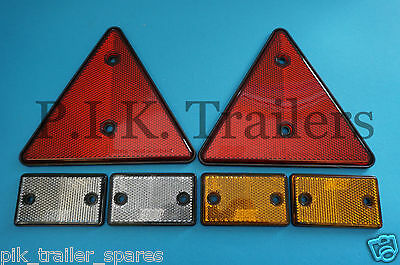 Set of 6 Reflectors - 75mm x 46mm Screw-on / Self Adhesive & Triangles - Trailer