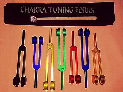 7 COLORED CHAKRA  SPECTRUM WEIGHTED SOUND HEALING  TUNING FORK + mallet