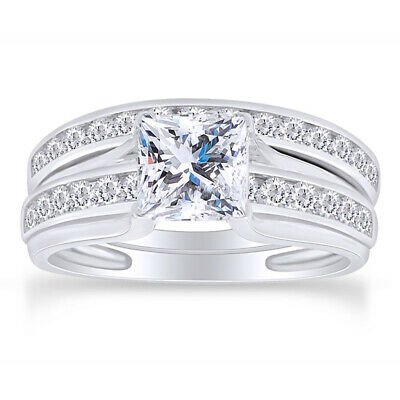 Princess Cut Cubic Zirconia Wedding Ring Set In 14k Gold Over Sterling Silver