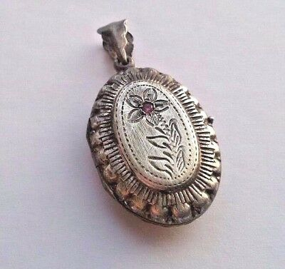 Imper.RUSSIAN Locket with Ruby 84 Silver Romanovs dinasty