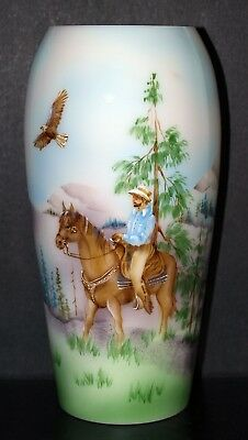 Fenton Art Glass OOAK Hand Painted Horse and Rider Opal Satin Vase