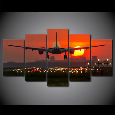 Framed Home Decor Sunset Airplane Plane Lights Canvas Print Painting Wall Art 5P