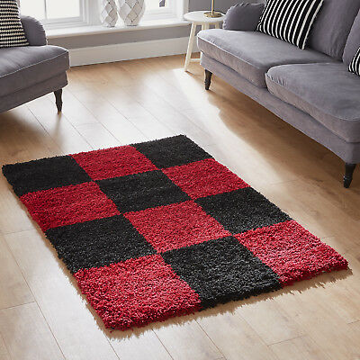 Modern 5Cm Thick High Pile Large Medium Small Non-Shed Red Black Shaggy Rugs