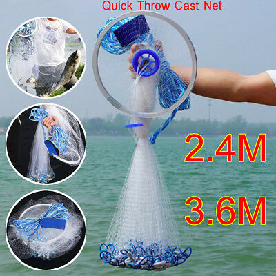 2.4M/3.6M Nylon Cast Net 3/4'' Mesh Wire Mono Quick Throw Bait Drawstring Spread