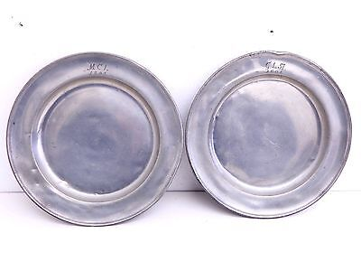 "Antique Pair of 1804 Early Pewter 9 1/4"" Plates Dish"