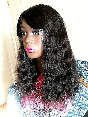 Long virgin Brazilian Remy 100% All Human Hair wig natural color & wave 18 in.