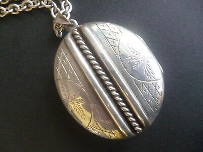 Antique Victorian Solid Sterling Silver hallmarked Large Locket on chain c.1890s