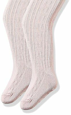 The Children's Place Girls' Cable Knit Tights (Pack of 2), Shell, 4-5 Years