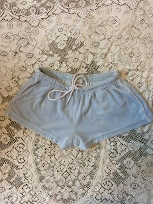 Vintage 90s Miken Blue Velour Booty Shorts Adjustable Drawstring Small