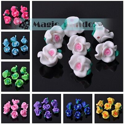 New DIY Charms 12*9mm Polymer Clay Flower Loose Spacer Beads Mixed Colors