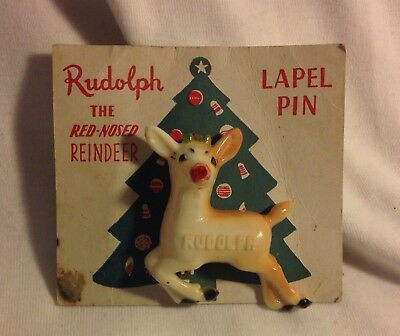 Vintage 3-D RUDOLPH The Red Nose Reindeer Brooch Pin 1939 5th Ave. NY USA Rubico