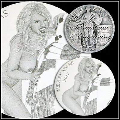 Sexy Xmas Babe Engraved Standing Liberty Quarter Ron Jr Scrimshaw Engraving #101