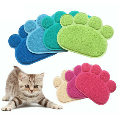 Paw Shaped Pet Cat Litter Feeding Mat Pad for Food Water Bowl Placemat