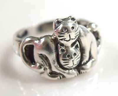 Retired  Sterling Silver 925 Two Cats Ring  Signed EFS  sz 7   4.1 g
