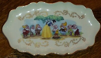 Lenox 1997 Ivory China Disney's Snow White Candy Dish with Gold Trim