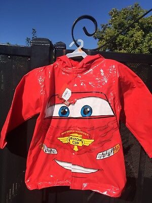 Kids Boys Disney Pixar Cars Rain Coat Jacket With Hood Red Size 3t