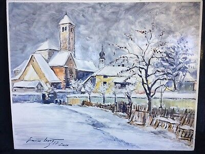 "Gorgeous 20X16"" Italian Enamel Metal Painting Signed Winter Scene Italy Siltal"