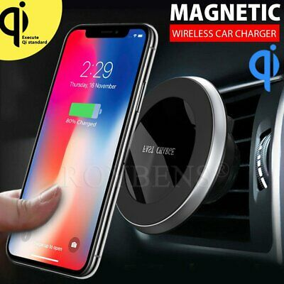 Wireless Car Charger Magnetic Air Vent Mount Phone Holder Stand For iPhone Xs X