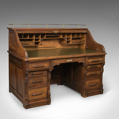 Antique Roll Top Desk, Shannon File Co, English Walnut, Edwardian Circa 1910
