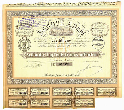 France French 1920 Banque ADAM Boulogne 25 Millions 500 Francs Bond Share Loan