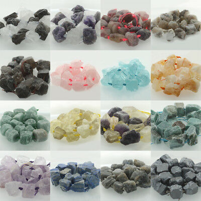 """Natural Raw Rough Nugget Gemstone Freeform Loose Beads 20-25mm 15"""" Mid Drilled"""