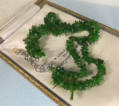 Sterling Silver  Russian Chrome Diopside  Natural Gemstone chip   2 row bracelet