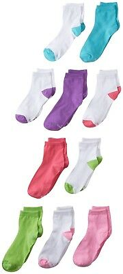 Top Quality Hanes Girls 10 Pack Ankle Socks Assorted Colors Large Shoe Size 4-10