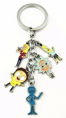 Rick and Morty Characters 5 Charm Metal Keychain Keyring