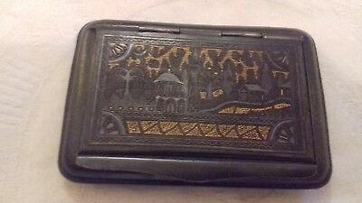 Antique oriental base metal trinket box with hinged & etched lid