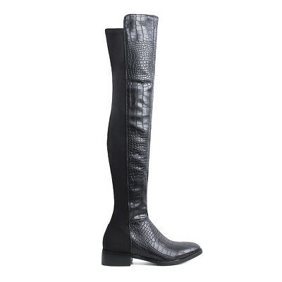Womens Ladies Patent Black Croc Flat Thigh High Boots Stretch Boots Shoes Size