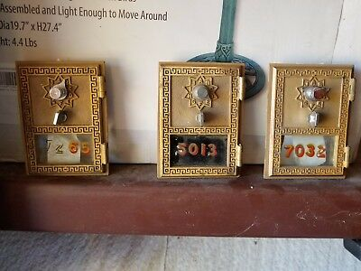 3 Antique, vintage mail box doors, combo instructions provided.